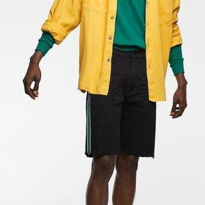 ZARA - denim shorts with racing stripe